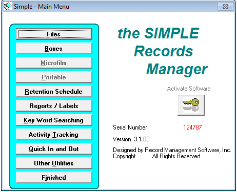 Simple Records Manager Server Version